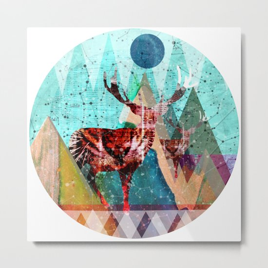 Wonder Wood Dream Mountains - Red Deer Dream Illusion 3 Metal Print