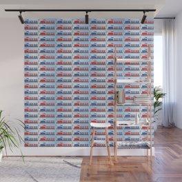 Cute Red   Blue Choo Choo Train Pattern for Baby   Toddler Boy Wall Mural
