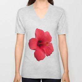 Stunning Red Hibiscus Flower Unisex V-Neck