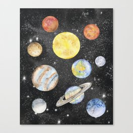 Watercolor Planets Canvas Print