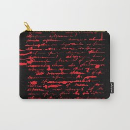 Red and Black Unreadable Letter Carry-All Pouch