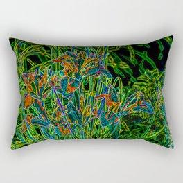 Neon Garden Flowers Rectangular Pillow