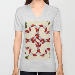 CREAMY YELLOW  RED-WHITE PINK  CHRISTMAS CANDY CANES Unisex V-Neck