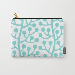 Beautiful Vine Pattern with Berries 731 Aqua Carry-All Pouch