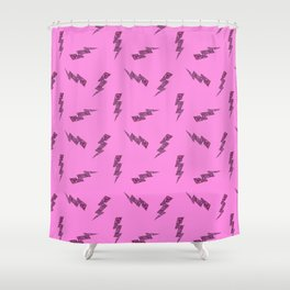 Pink Glitter Lightning Bolts in Pink Shower Curtain