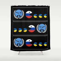 ukraine Shower Curtains featuring United Nations Russia and Ukraine by mailboxdisco