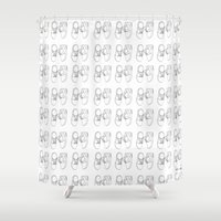 nike Shower Curtains featuring Nike sneaker illustration by Rocio P. Vigne