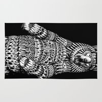 ornate Area & Throw Rugs featuring Ornate Grizzly Bear by BIOWORKZ