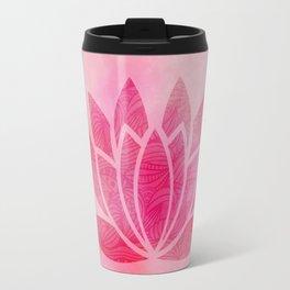 Zen Watercolor Lotus Flower Yoga Symbol Travel Mug