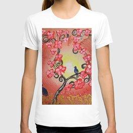 Red cherry blossom tree painting by Ksavera T-shirt