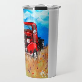 Uncle John's Old Truck Grandpa Red Work Truck Vintage Antique Farm Ranch Farmer Rancher Field Travel Mug
