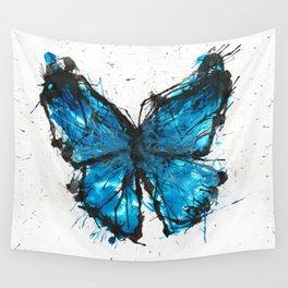 Blue butterfly ink splatter Wall Tapestry