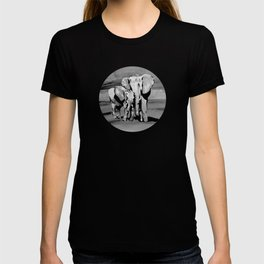 Black and white mother and baby elephant T-shirt
