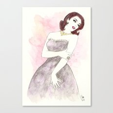 'Scarlett' Watercolor Fashion Illustration Canvas Print