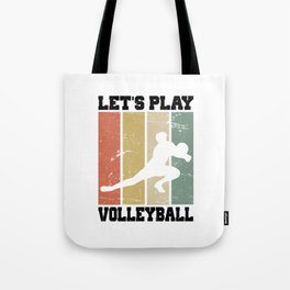 Let's Play Volleyball T Shirt Volleyball Player TShirt Volleyball Coach Shirt Vintage Gift Idea Tote Bag