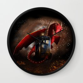 Blue Phone Booth lost in the Dragon nest iPhone, ipod, ipad, pillow case and tshirt Wall Clock