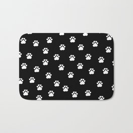 Cat's hand drawn paws in black and white Bath Mat