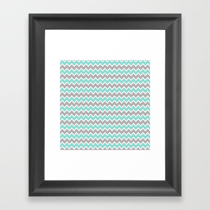 Aqua Turquoise Blue and Gray Chevron Gerahmter Kunstdruck