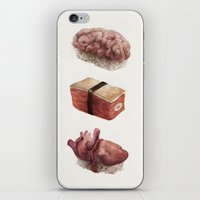 in the flesh iPhone & iPod Skins featuring Fresh Flesh by Corinne Reid
