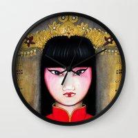 asia Wall Clocks featuring Asia by Mélanie Arias Art