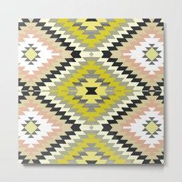 Kilim Navajo print in yellows Metal Print