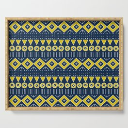 Mudcloth Style 2 in Navy Blue and Yellow Serving Tray