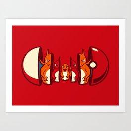 Poketryoshka - Fire Type Art Print