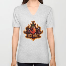 Skull Hot Sauce pepper Unisex V-Neck