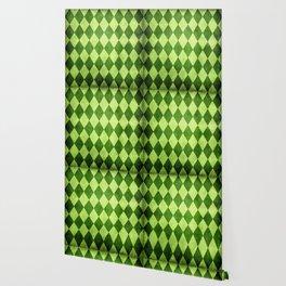 Green Harlequin Grunge Wallpaper