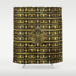 Gold  Aztec Inca Mayan Mask Shower Curtain
