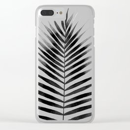 Palm Leaf Watercolor | Black and White Clear iPhone Case