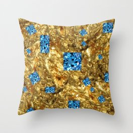 FACETED BLUE  TOPAZ GEMSTONES ON GOLD Throw Pillow