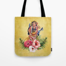 Hula Doll With Ukelele and Big Pink Flowers Tote Bag