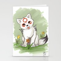 okami Stationery Cards featuring Okami Chibiterasu by Brandy Woods