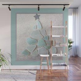 Sea Foam Sea Glass Christmas Tree #Christmas #seaglass Wall Mural