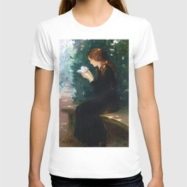 The Girl with Red Hair Reading in the Garden still life portrait painting by Laura Muntz Lyall T-shirt
