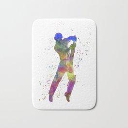 Cricket player batsman silhouette 05 Bath Mat