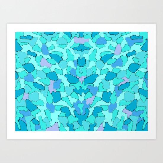 Camo Aqua Art Print
