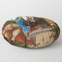 Piero di Cosimo - The Visitation with Saint Nicholas and Saint Anthony Abbot Floor Pillow