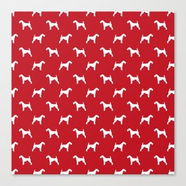 Airedale Terrier red and white minimal dog pattern dog silhouette pattern Canvas Print