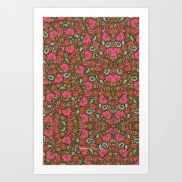 Magenta Floral Pattern Art Print