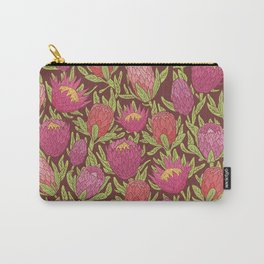 Pink protea flowers with green leaves on brown background Carry-All Pouch