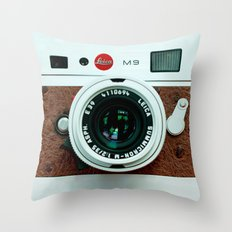 Classic retro White with Brown Leather vintage camera iPhone 4 4s 5 5c, ipod, ipad case Throw Pillow