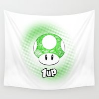 luigi Wall Tapestries featuring 1-UP from Mario by Art & Be