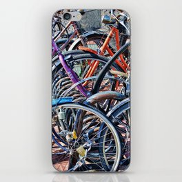 Lots of colorfull bycicles iPhone Skin