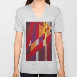 Mountains 2.0 - Retro 70s abstract line art in warm hues Unisex V-Neck