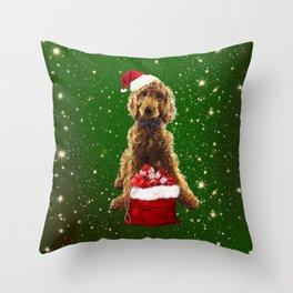Christmas Dog Golden Doodle Throw Pillow