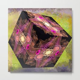 Abstract 136 cube with textures Metal Print
