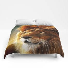 Lion face .King of beasts abstraction Comforters