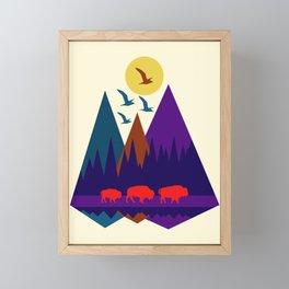 Three Bison Framed Mini Art Print